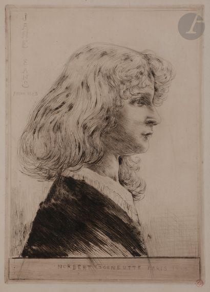 Norbert GOENEUTTE (1854-1894)  Jane – huit ans, 1885  Pointe sèche.  340 x 250 mm....