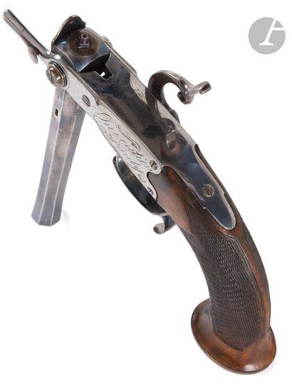 Rare pistolet à système Pauly, un coup. Canon...