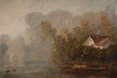 Paul HUET (Paris 1803 - 1869) Étang le matin...