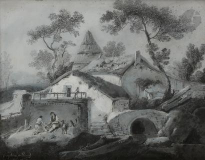 Joséphine AILLOUD (XIXe siècle) Bergère aux labeurs; Bergers au repos, 1808 Paire...