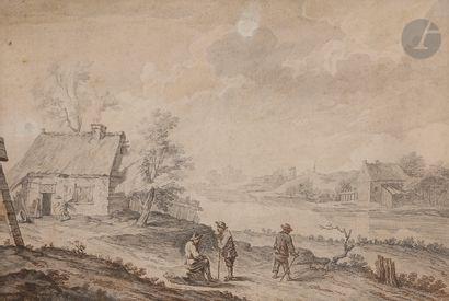 École du NORD du XVIIIe siècle Paysage fluvial...