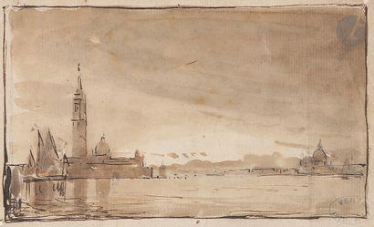 Amédée ROSIER (1831-1898) Vue de Venise Plume, encre brune sur traits de crayon...