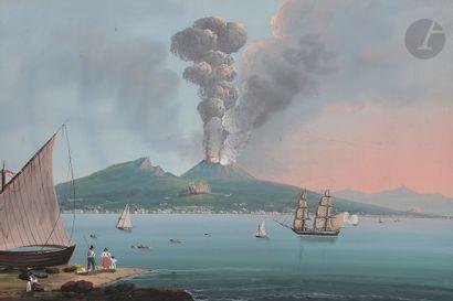 École NAPOLITAINE Eruzione del 1822 Gouache...