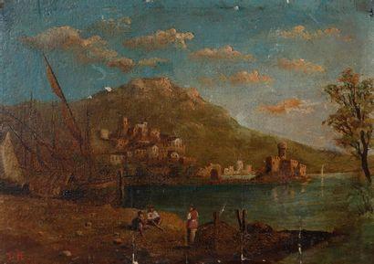 École ITALIENNE du XIXe siècle Paysage lacustre...