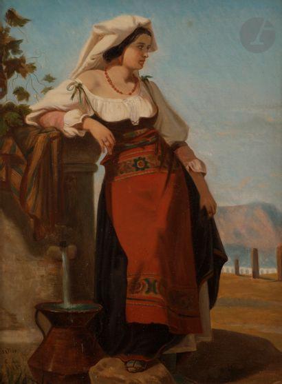 Jules SALLES (Nîmes 1814 - 1898) Une italienne...