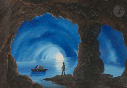 École NAPOLITAINE Grotte de Capri Gouache...