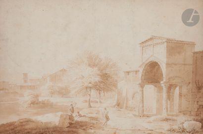Constant BOURGEOIS DU CASTELET (Guiscard 1767 - Passy 1841) Une paire de vues:...