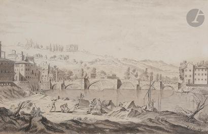 École LYONNAISE du début XIXe siècle Pont...