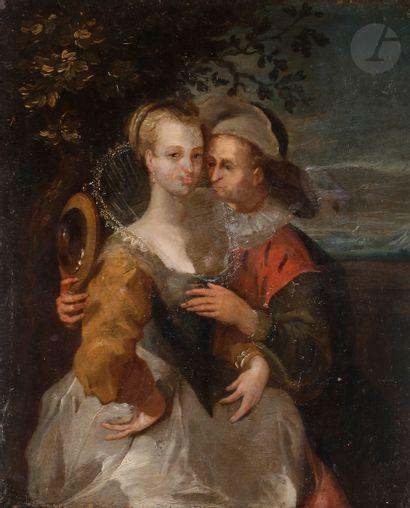École du NORD du XVIIe siècle Couple au miroir...