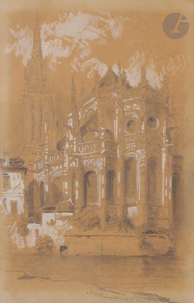 Achille BLIGNY (1826 - 1 862) Vue de l'église Saint Pierre à Caen Crayon noir, estompe...