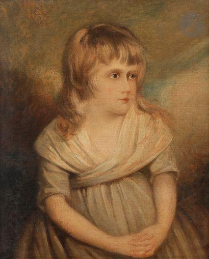 École anglaise vers 1800 Portrait de jeune...