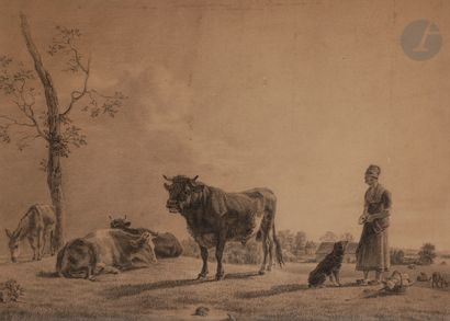 École du NORD du XIXe siècle Berger à son...