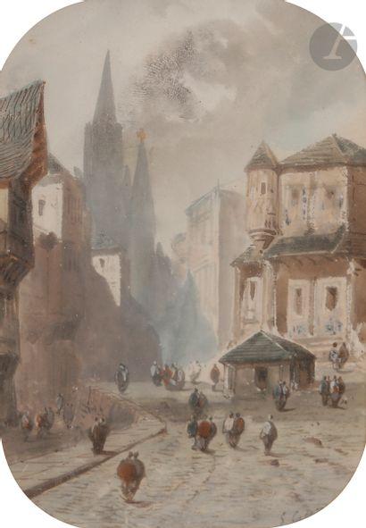 Eugène CICÉRI (1813-1890) Scène de ville...