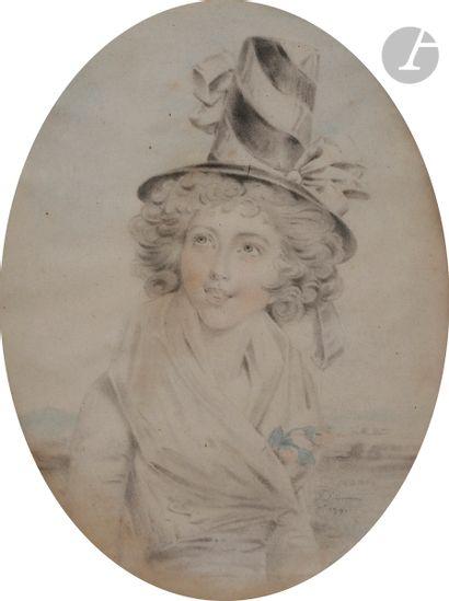 John DOWNMAN (Royaume-Uni 1750 - 1824) Paire de portraits de femme à mi-corps de...