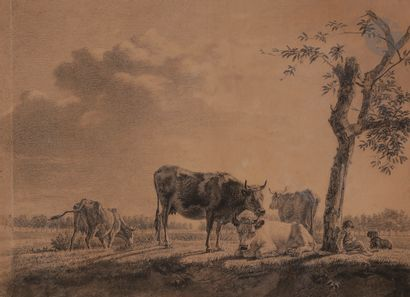 École du NORD du XIXe siècle Berger à son troupeau Paire de pierre noire et estompe...