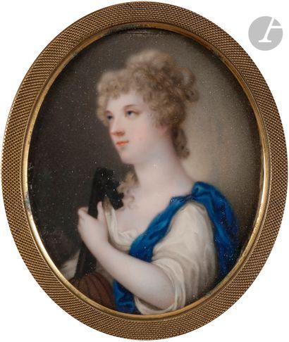 DE HESLING (XIXe siècle) Jeune femme jouant...
