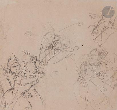 Gustave WAPPERS (1803 - 1874) Scène de l'histoire de la Renaissance, femme protégeant...