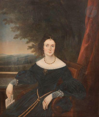 A. Beaumon*** Portrait de femme tenant une...