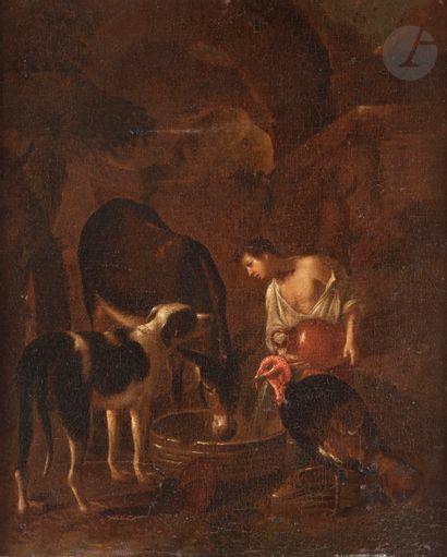 École ITALIENNE du XVIIe siècle Jeune pâtre...