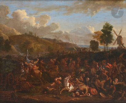 École FLAMANDE du XVIIe siècle Choc de cavalerie...