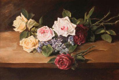 ECOLE FRANCAISE vers 1900 Roses sur un entablement....