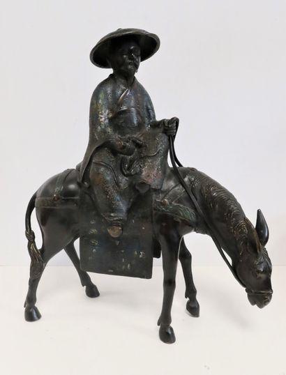 Toba sur sa mule, Japon, vers 1900 Statuette...