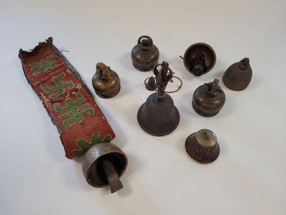 Ensemble de cloches, Tibet En bronze, dont...