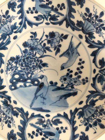 A round blue enamelled porcelain plate, China, Kangxi period (1662 - 1722 )Underglaze...
