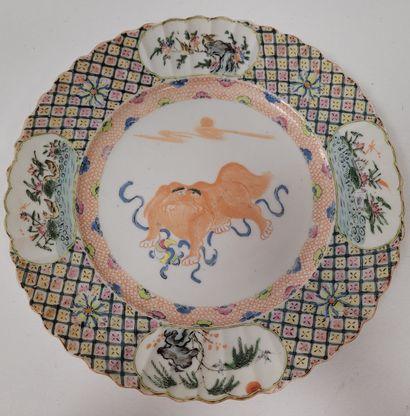 Assiette en porcelaine émaillée, Chine, Compagnie...
