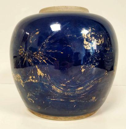 Pot à gingembre en porcelaine émaillée bleu...