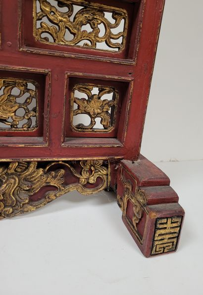 Lacquered wood screen, China, Ningbo, circa 1900Rectangular , red lacquered with...