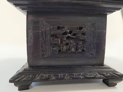 Exotic wood box, China, Canton, circa 1900A carved decoration on the sides and the...