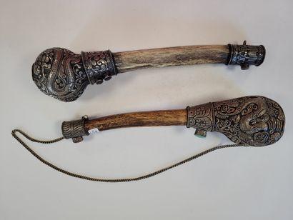 Deux trompes rituelles (Rkang gling ou kangling),...