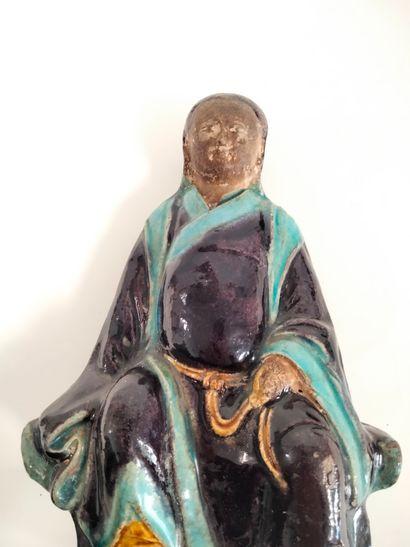 Polychrome enamelled terracotta statuette of Guandi, China, Ming style Guandi seated...