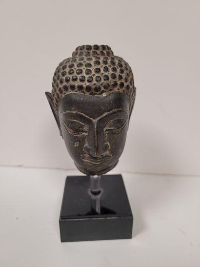 Petite tête de bouddha en bronze, Thaïlande,...