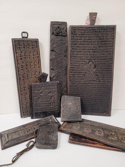 Ensemble de planches xylographiques, Tibet,...