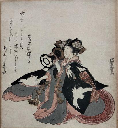 Estampe surimono shikishiban, Japon, XIXe...