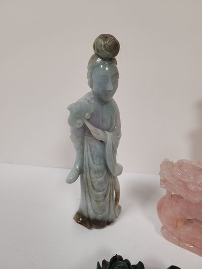 Set of four hard stone statuettes, China, 20th centuryIncluding : - 1 Guanyin accompanied...