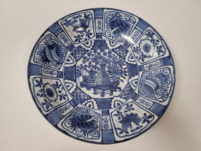 Grand plat de style kraak, Japon, fours d'Arita,...