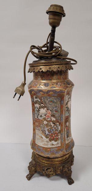 Vase rouleau Satsuma, Japon, XIXe siècle...