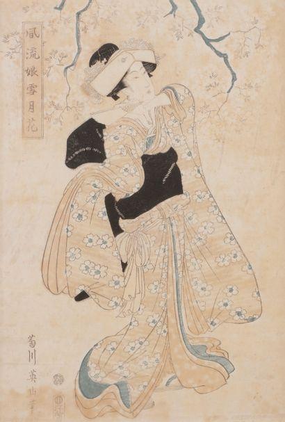 Kikukawa EIZAN (1787 - 1867) Six oban tate-e...