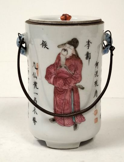 Small covered pot, China, late 19th - early 20th centuryPorcelain trivet with polychrome...