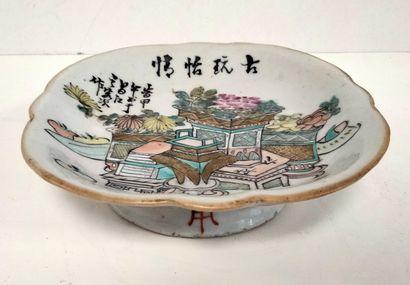 Ravier en porcelaine, Chine, XIXe siècle...