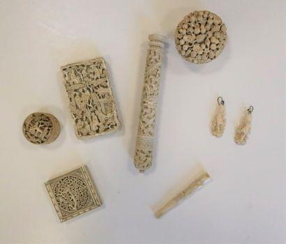 Ensemble de 7 objets en ivoire, Chine, Canton,...