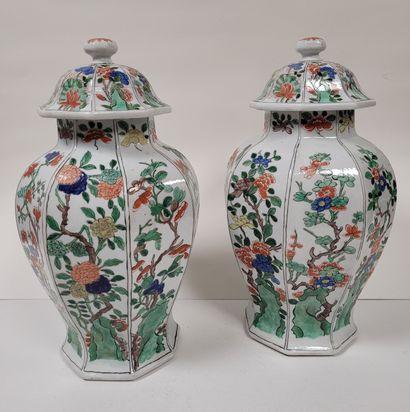 Paire de vases couverts en porcelaine, Europe...
