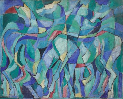 Sabine HETTNER (1906-1986) Chevaux, 1955...