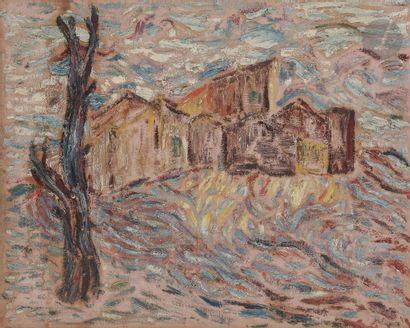 Sabine HETTNER (1906-1986) Village à l'arbre...