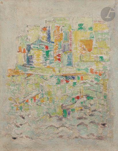 Sabine HETTNER (1906-1986) Village côtier,...
