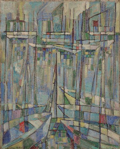 Sabine HETTNER (1906-1986) Voiliers au port,...