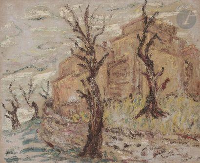 Sabine HETTNER (1906-1986) Village en hiver,...